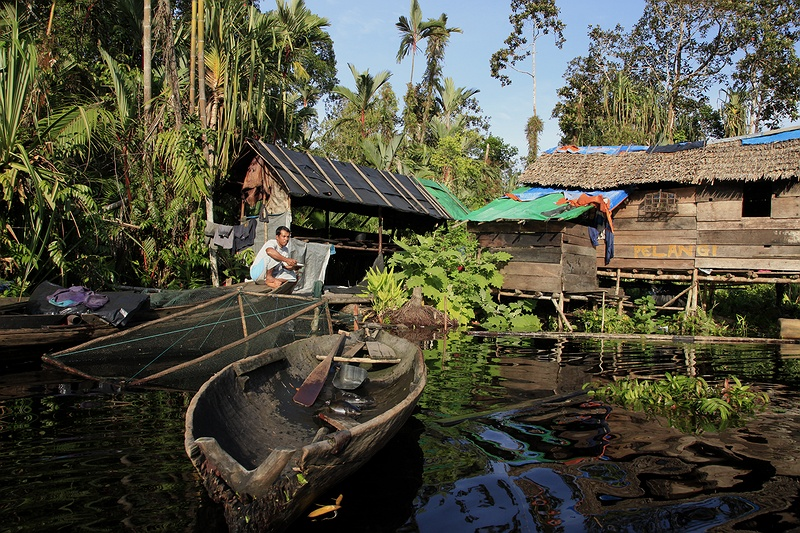 The fishing hut Pelangi has been in Jambang family's possession for over 50 years. In that same time over half of Indonesia's rainforest has been logged.
