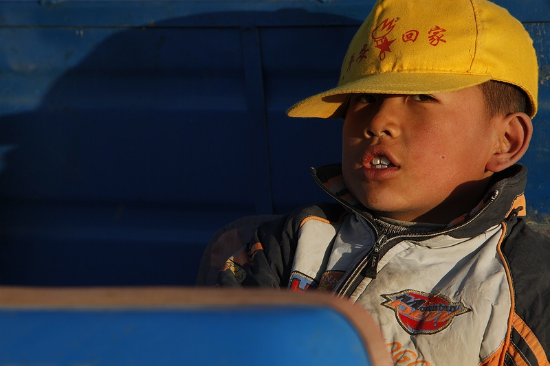In harvest season all family members work the fields. This boy, aged 7, takes a break in the seat of a three wheel converted motorbike truck, typically used by most Gansu farmers. His family continue to fill bags of cotton that will sell for around 3 cents a kilo.