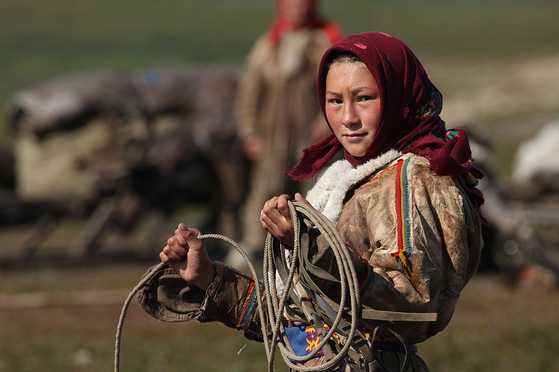 Old and young help gather the reindeer when it's time to move to new pasture.  This Nenet girl proudly folds up a lasso, the use of which is usually strictly reserved for the men of the tribe.