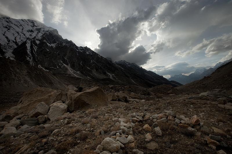 Rain clouds move quickly in from the low valleys as the sun goes down. Weather changes fast in the Himalayas and can go move from warm, sunny to rain or snow in minutes.