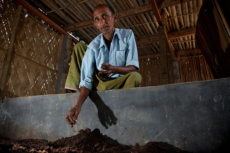 Rabin Jana and his family have converted to ecological farming using compost and worms.
