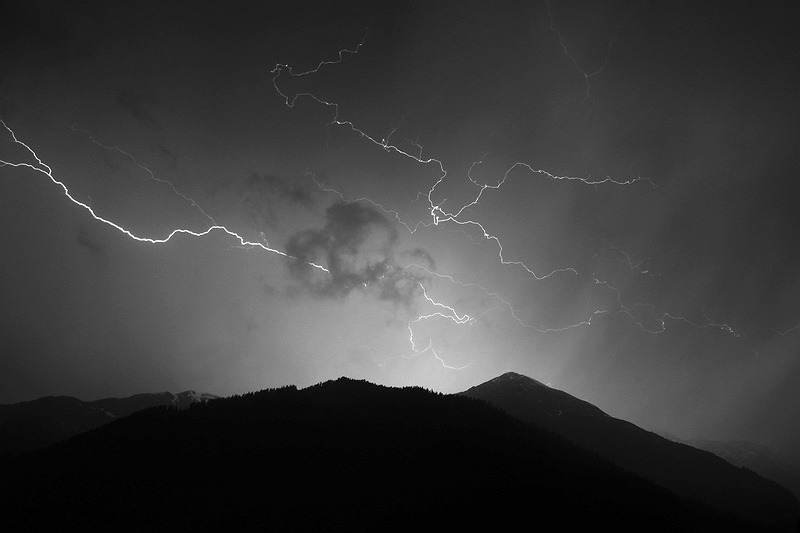 Storm in the Himalayas. Lightning strikes over the mountains in Manali.